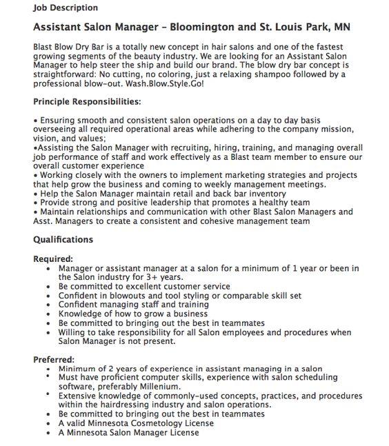 Assistant Salon Manager Job Description - http\/\/resumesdesign - salon resume