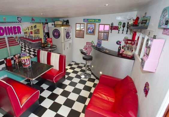 Glam: There's nothing on the inside of this colourful diner to suggests it's really a shed. The creative outhouse is down to the final 32 in the Shed of the Year competition: