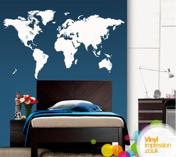 Large World Map Vinyl Wall Sticker by Vinylimpression on Etsy, via Etsy.