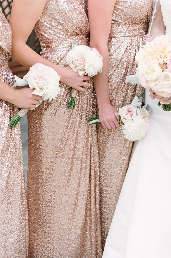 Rose gold sequinned bridesmaids via @fabyoubliss Rose Gold Vintage Glam San Diego Wedding - Fab You Bliss