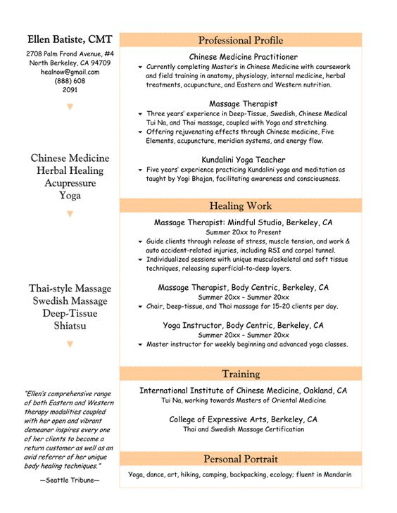 Image Result For Massage Therapist Resume  Massage Therapy  AP