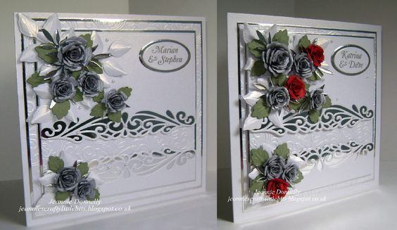 Using a Sue Wilson design only with different dies for these two Wedding Day Cards - dies from Spellbinders Grand Squares, Bitty Blossoms and Foliage, Creative Expressions / Sue Wilson Gemini Collection Ursa and Complete Petal Leaves, Joy Crafts Ovals and a Memory Box Leaf. Embossing Folder from Crafters Companion Rose Swirls.