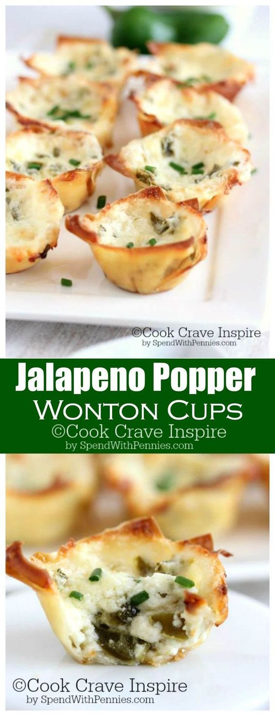 Jalapeno Popper Wonton Cups!  This easy and yummy appetizer is the perfect bite... creamy, cheesy, spicy and crispy!  Crispy wonton cups filled with jalapenos and cheese!