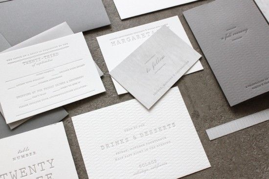 Margaret + Patrick's Understated Letterpress Wedding Invitations | Design, Printing and Photo Credit: Sideshow Press