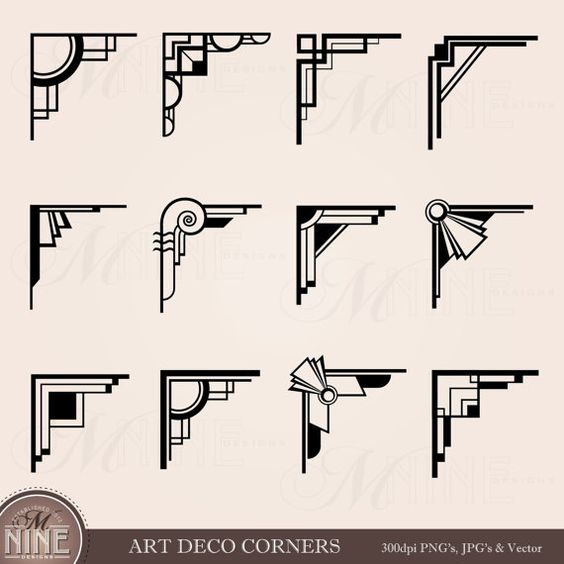 ART déco coins Clipart Digital Clip Art, Instant Download, Design Vintage éléments frontières Antique Clip Art noir Silhouette