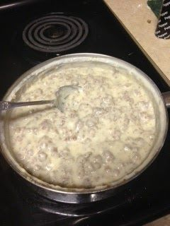 Homemade Biscuits and Gravy:  Like my Mammaw's except she used Jimmy Dean Hot Sausage and canned evaporated milk mixed equal parts with water!  Wonderful and a great weekend meal with scrambled eggs and grits!