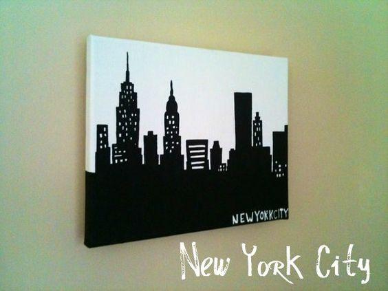 8x10 Silhouette Skyline Painting on Canvas of New York City, Nashville, Boston, Chicago, LA, Atlanta, Philly, Louisville, MORE. $27.00, via Etsy.