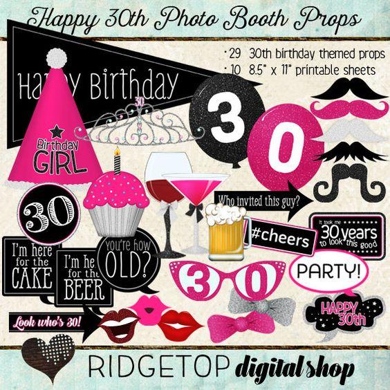 Photo Booth Props HAPPY 30TH BIRTHDAY par RidgetopDigitalShop
