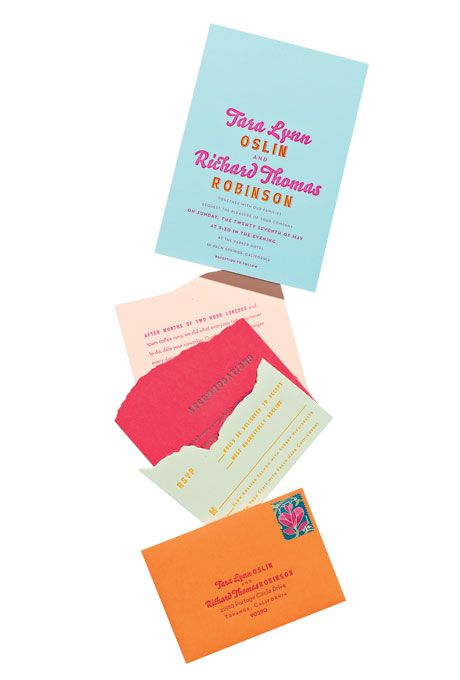 Brides.com: Brides' 15 Favorite Wedding Invitations of 2012. Bright Letterpress Wedding Invitation. For a tropical-inspired or destination wedding, choose a bright invite that packs a playful punch. (We love the raw edges on the reply cards!)  Die-cut letterpress invitation suite, $4,450 for 100 (includes accommodations info, reply cards, and envelopes), Ladyfingers Letterpress  See more Hawaiian destination wedding ideas.