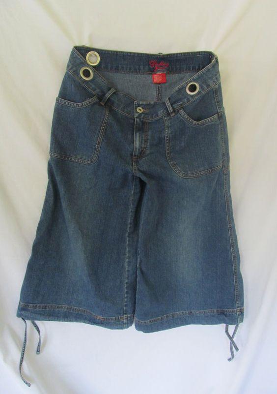 Slouchy Blue Denim Gaucho Pants Blue Jean Capri Pants 90s Grunge ...