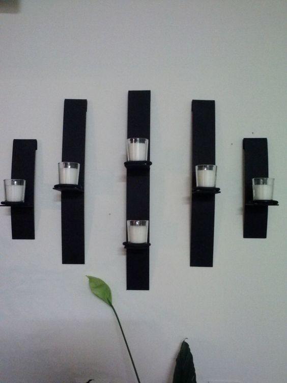 Metal modern art wall mount candle votive holder sconce - Candelabros de pared ...