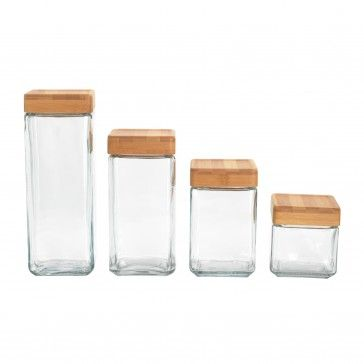 Anchor Hocking Stackable Glass Jars with Bamboo Lids | $30
