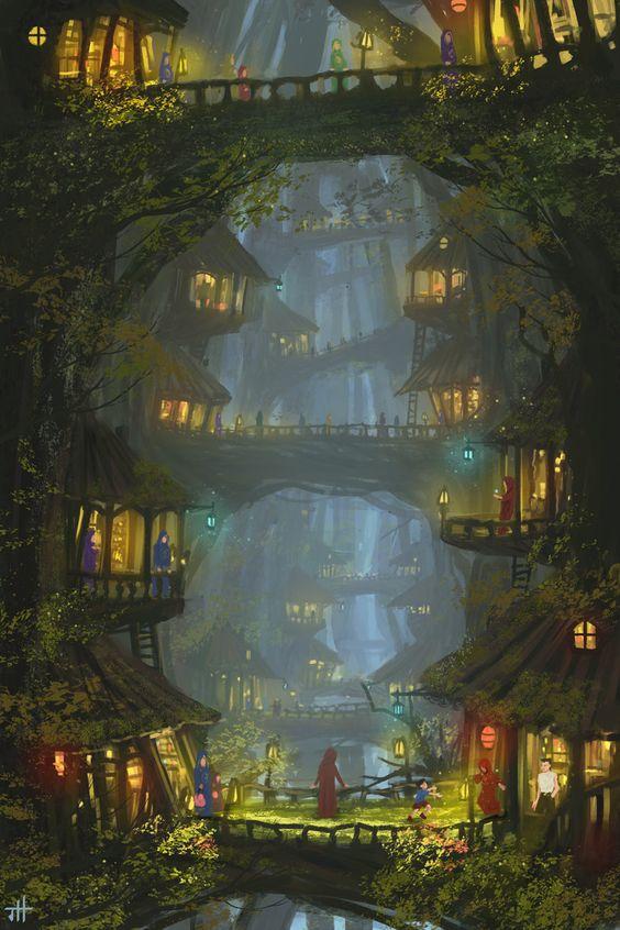 Gusta, Mundos, Paisajes, Casa Del Árbol De La Fantasía, Arte Increíble, Fantasía, Fantasy World Forest, Amazing Forest Fantasy City, Fantasy Fantastic