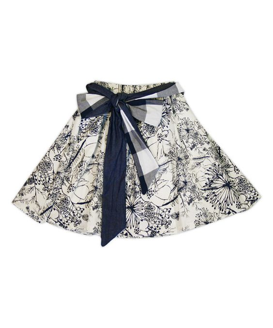 Look at this Navy Etched Floral Milly Skirt - Toddler & Girls on #zulily today!