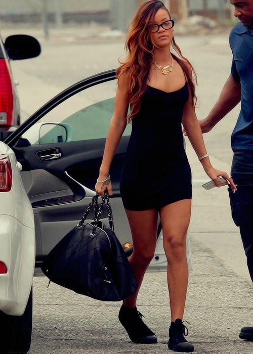 Rihanna | Street style | Little black dress | Chuck Tayu0026#39;s | Gold Chain | Black Frame Glasses ...