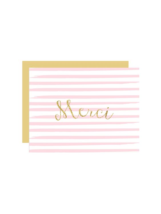 Striped Merci Thank You Cards | Printable thank you cards, Paper ...