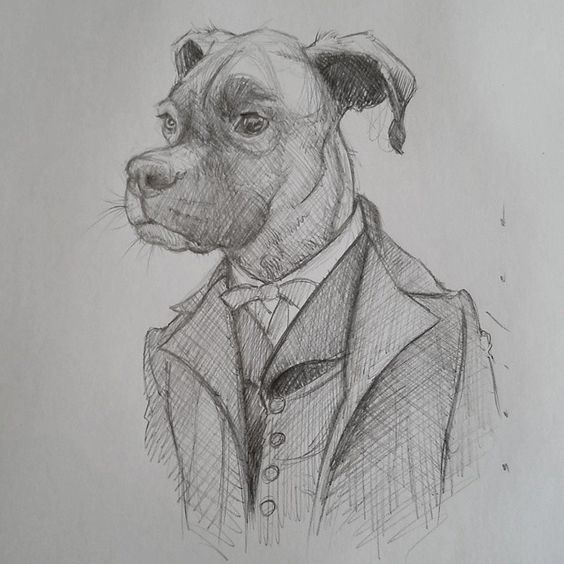 Small little sketch of my dog Capone for a fan.....