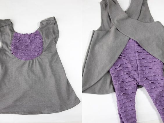 Get this #free pattern for a ruffled fabric pinafore #sewing project! We love the back detail, and paired with leggings it's super cute!