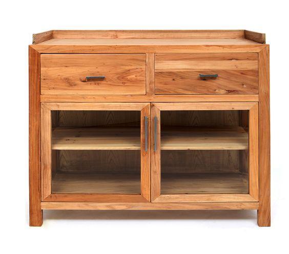Vitrina Recta Baja en madera de Olmo. Medida 100L X 40F X 96h  Disponible en otros acabados y medidas.