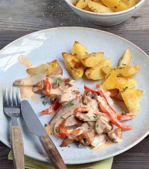 Seitan-Pilz-Geschnetzeltes mit Paprika und Ofenkartoffeln | Blog Köstlich Vegetarisch