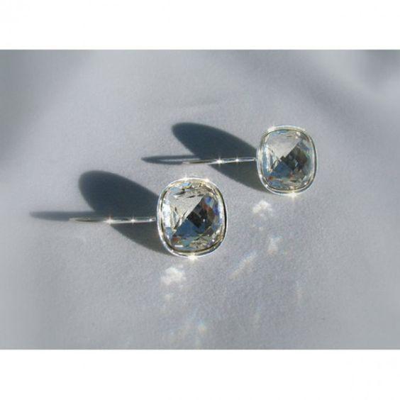 Swarovski Crystal Earrings - Silver. #earrings #want #jewelry 9thelm.com