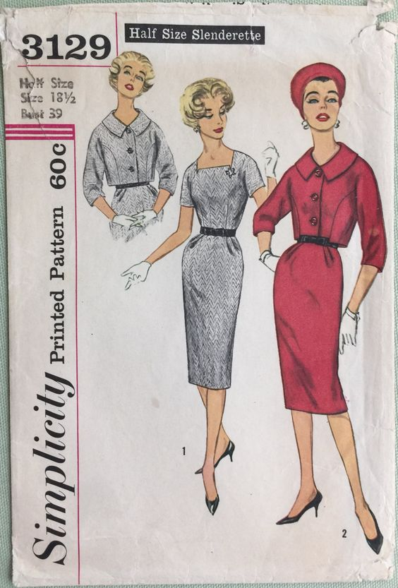 Vintage Sheath Dress, Simplicity 3129, Size 18.5, Bust 39, Mad Men Retro Style, Darted, Square Neck by RoxyPoindexter on Etsy