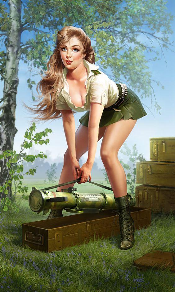 постановочное фото секси девушки в военной форме
