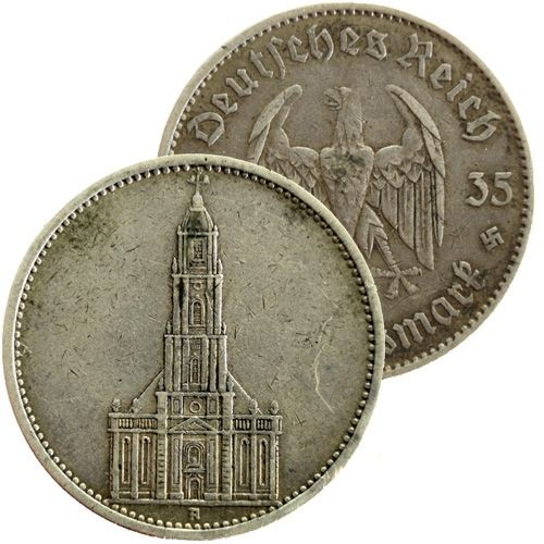 "1935 A Germany Garrison Church (Potsdam) silver 5 mark coin www.numismaticland.co.uk Obverse: German eagle Obverse legend: ""Deutsches Reich 1935 5 Reichsmark"" Reverse: Potsdam Garrison Church Edge: ""GEMEINNUTZ GEHT VOR EIGENNUTZ"" Country: Germany Year: 1935 A Mintage: 23.407.000 Metal: silver (0.9000) Weight approx.: 13.8g Diameter approx.: 29 mm 100% AUTHENTIC!"