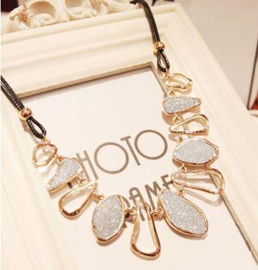 Fashion Irregular Metal Golden #necklaces & #pendants Chokers Black Rope. #bra #jewelry ...
