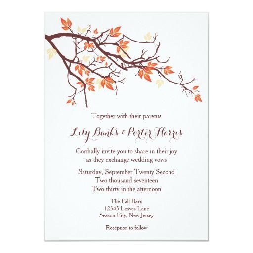 Fall Tree Branch Wedding Invitation Zazzle Com Tree Branch Wedding Branch Wedding Invitations Fall Wedding Invitations