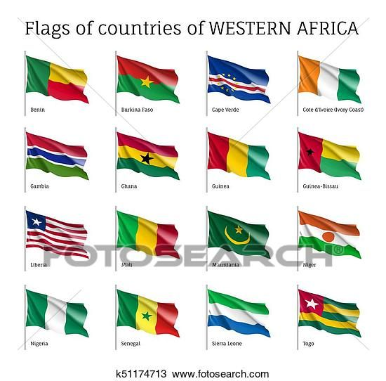 Western Africa Flag Set Drawing K51174713 Africa Flag African Flag Africa