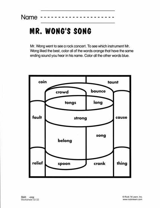 ong - Free Phonics Worksheet   consonant blends & digraphs ...