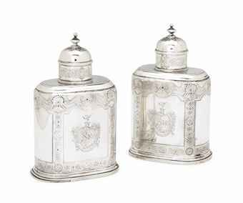 "A PAIR OF GEORGE II ""DUTY DODGER"" SILVER TEA CADDIES, MARK OF JOHN NEWTON, LONDON, CIRCA 1735 Upright oblong form with domed pull-off caps, with plain reserves framed by bands of diaperwork, rosettes and shells, sliding bases each engraved with scratch-weights 8=10, engraved to either side with rococo arms of Platt of Wiggin, Co. Lancaster impaling Piggott."