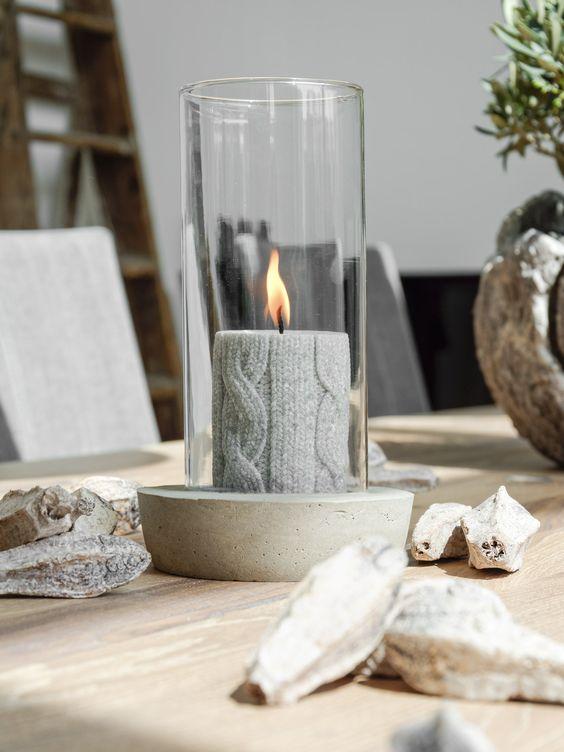 windlicht aus beton und glas dekorieren concreto pinterest basteln und selber machen. Black Bedroom Furniture Sets. Home Design Ideas