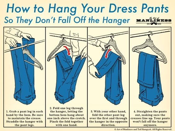 how to hang dress pants on a hanger illustration diagram: