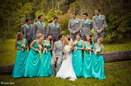 Think I M Going With Gray Tuxedos And Turquoise Dresses Looks Good Together Flowers Possibly Yellow A Little Orange Added Style Pinterest