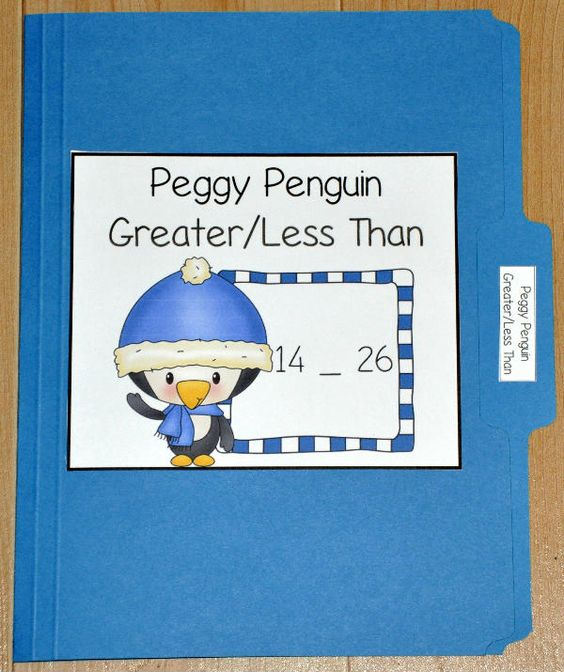 The Peggy Penguin Greater Than/Less Than File Folder Game is a winter themed activity that focuses on comparing numbers.  In this file folder game, students look at two numbers and determine whether the first number is greater than, less than or equal to the second.