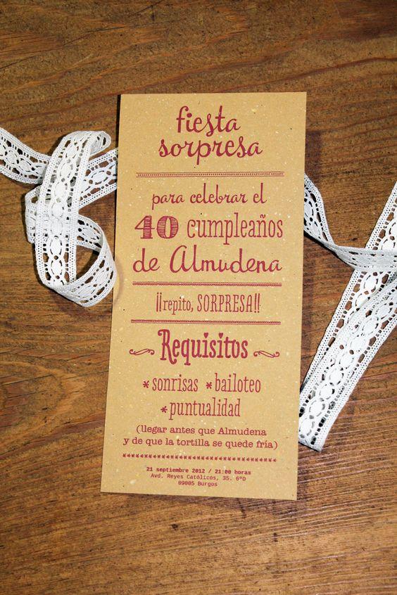 Invitación para la fiesta sorpresa de Almudena Diseño Gráfico Pinterest Fiestas