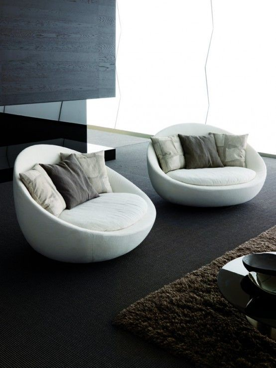 Modern living rooms modern living and living room sofa on for Sofa and 2 chairs living room