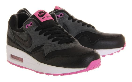 Nike Air Max 1 Premium Mujer Zapatillas para correr Antracita Negro Fucsia España Comprar Baratas 2014