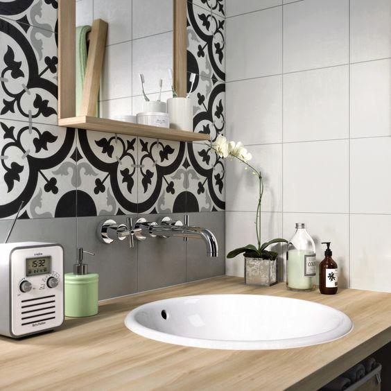Carreau de ciment Belle époque décor suzon gris, noir et blanc, l20 - brico carrelage salle de bain