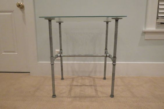 Industrial Pipe Table Nightstand Table Glass top by LoftyLights, $289.00