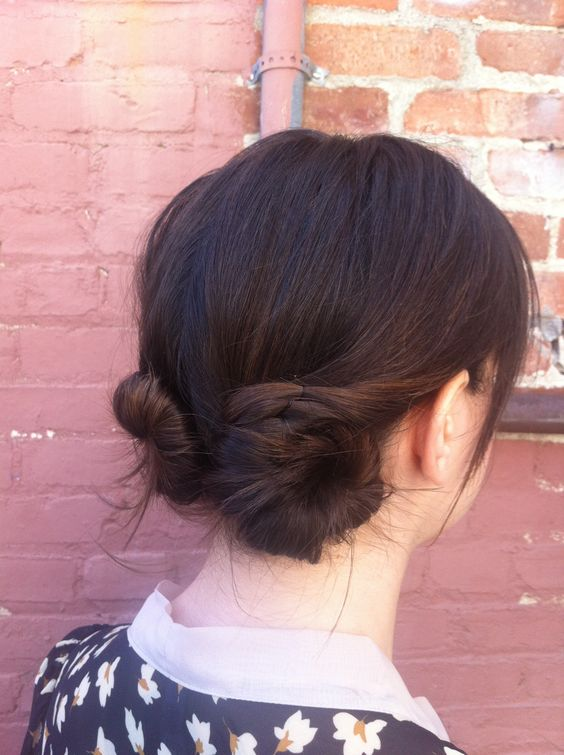 Day 18- Today I did a natural part down the center in the back with my hands, and used Oribe Rough Luxury molding wax to add some hold and texture. I twisted my hair into two buns and used bobby pins and hair pins to secure.:
