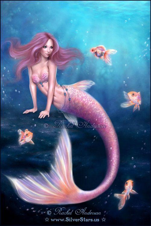 Aurelia Goldfish Mermaid Art Print by twosilverstars on Etsy