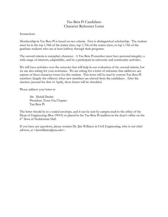 Character Reference Letter  Letter    Reference Letter