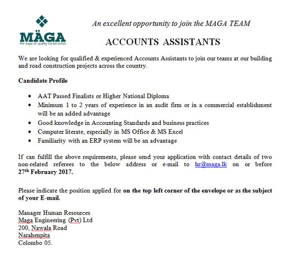 Accounts Assistants at Maga Engineering (Pvt) Ltd Career First - accounts payable duties