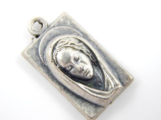 Vintage Virgin Mary Portrait Medal - Sacred Heart of Jesus Catholic Medal - Religious Charms  by LuxMeaChristus