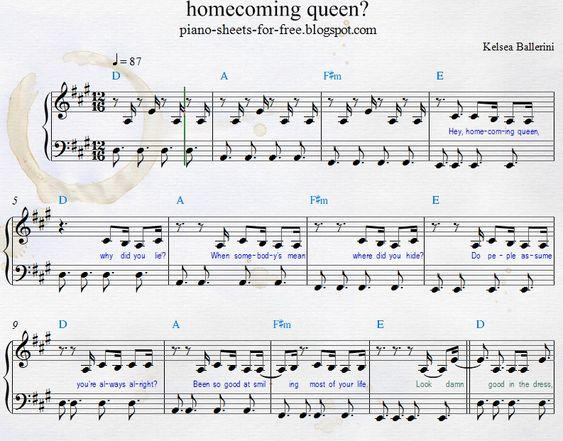 Kelsea Ballerini homecoming queen piano sheets