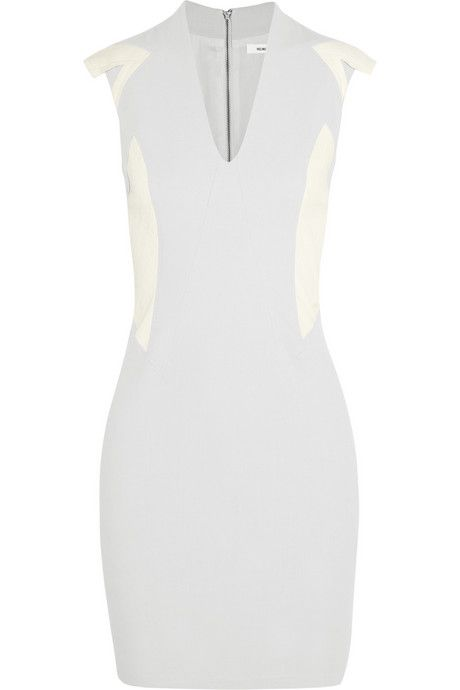 Helmut Lang Leather-paneled canvas dress
