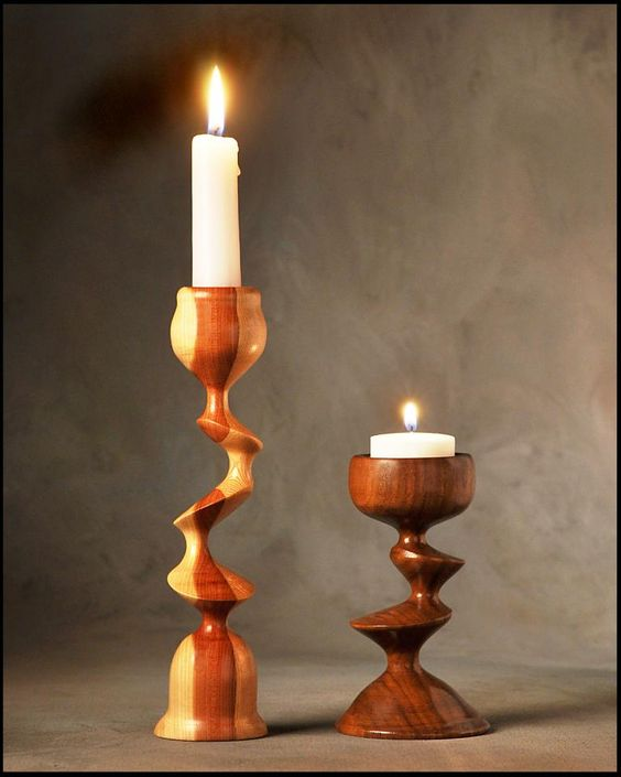 Lathe projects wood lathe and turning on pinterest for Cool candlesticks